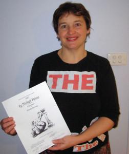 Glenda with Ig Nobel Prize certificate